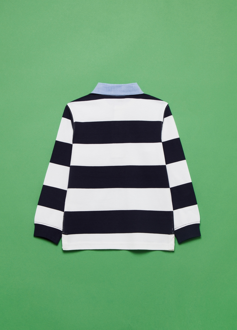 Polo maniche lunghe in cotone a righe image number null