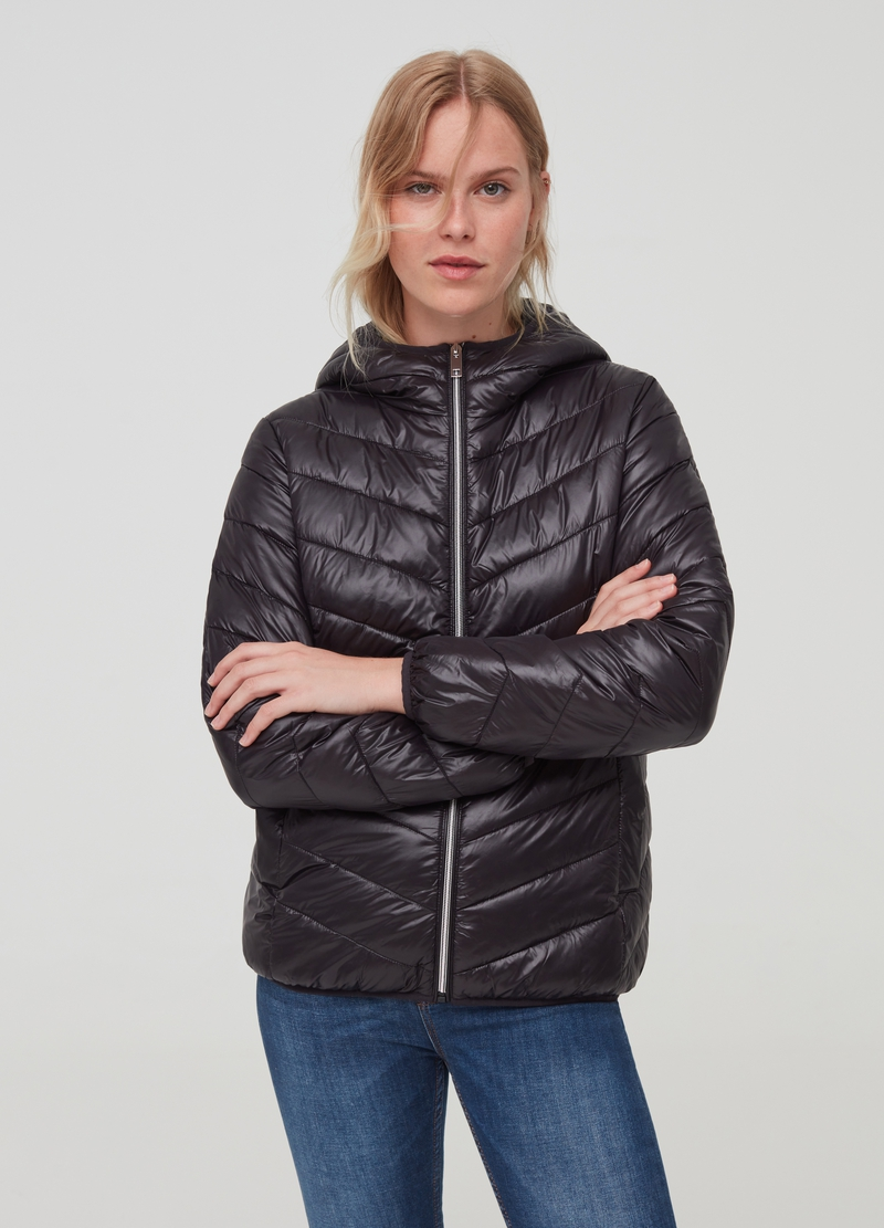 Padded jacket with hood and zip image number null