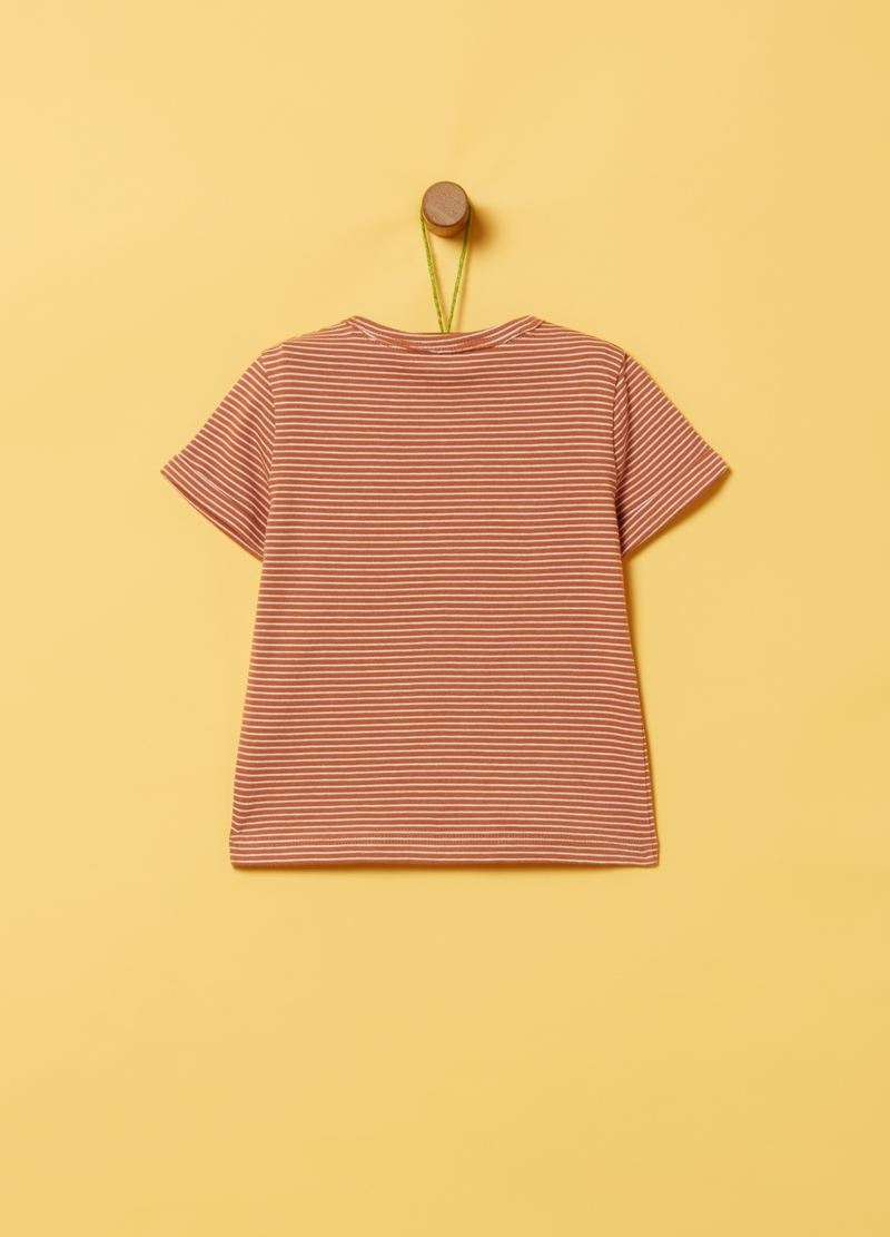 100% organic cotton T-shirt with print and stripes image number null