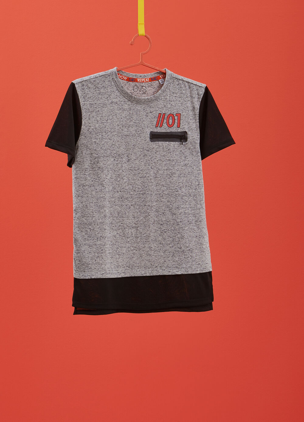 Mélange T-shirt with printed openwork inserts