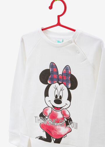 Sweatshirt in 100% cotton with glitter Minnie Mouse print