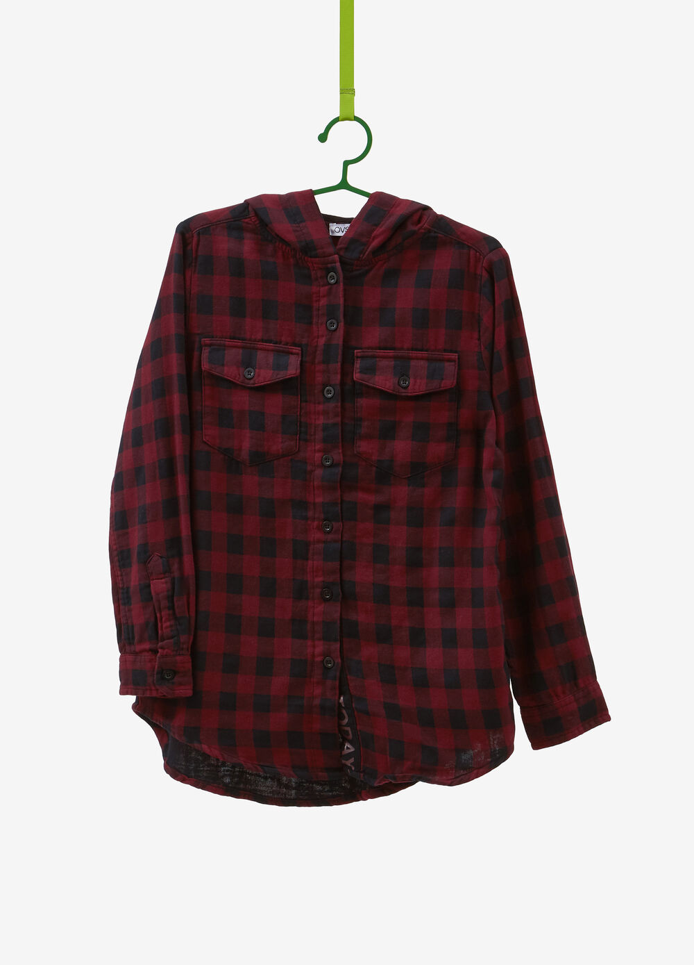 100% cotton check shirt with hood