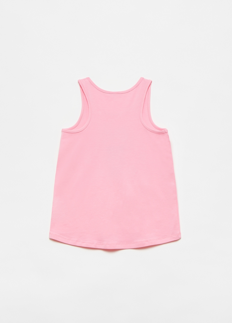 Tank top con stampa LOL e paillettes image number null