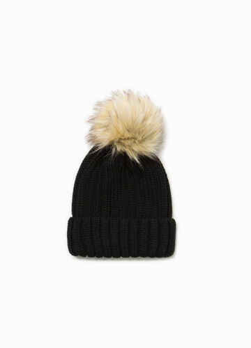 Beanie cap with fur pompom