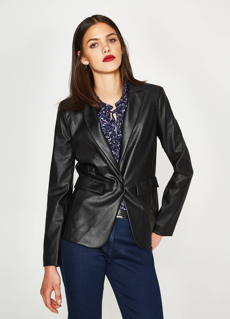 Blazer in similpelle con revers image number null