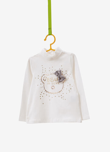 Stretch cotton turtleneck jumper with bow and sequins