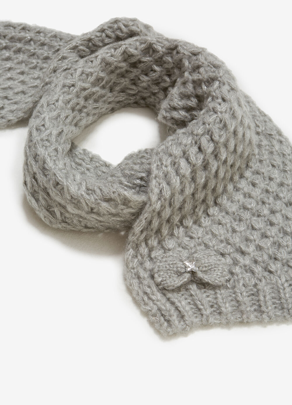 Solid colour lurex scarf with bow