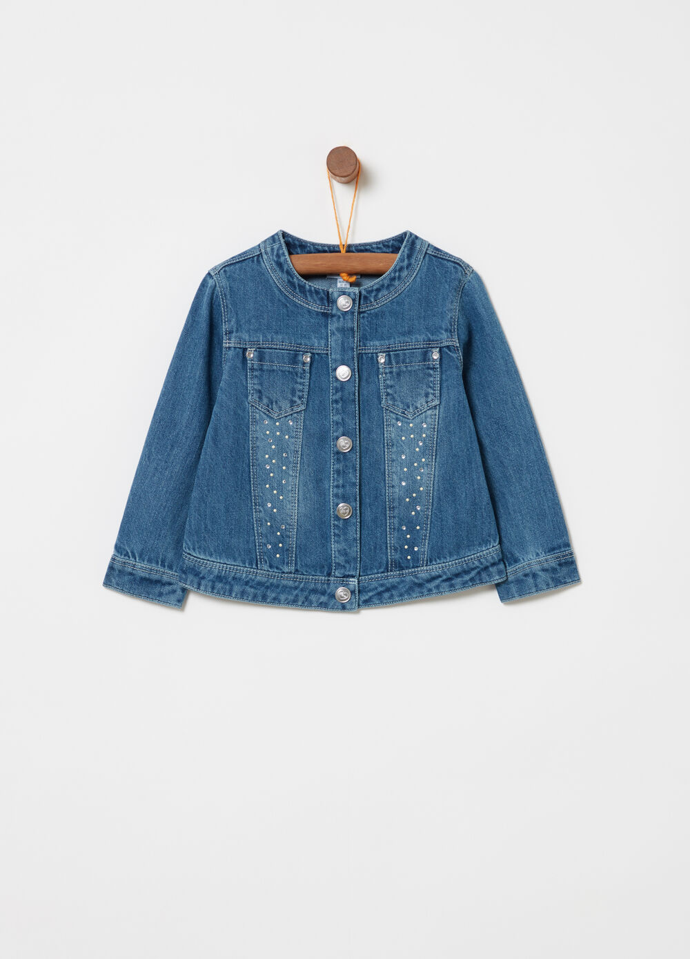 Denim jacket with beads and diamantés