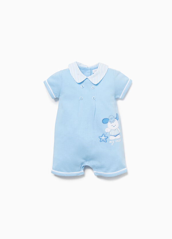 Cotton romper suit with striped edging