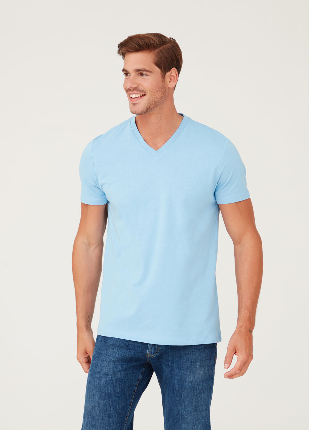V-neck T-shirt in soft jersey