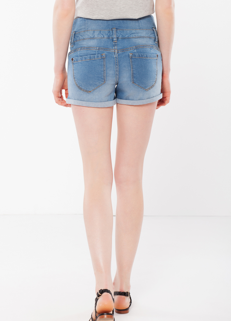 Three-button denim shorts image number null
