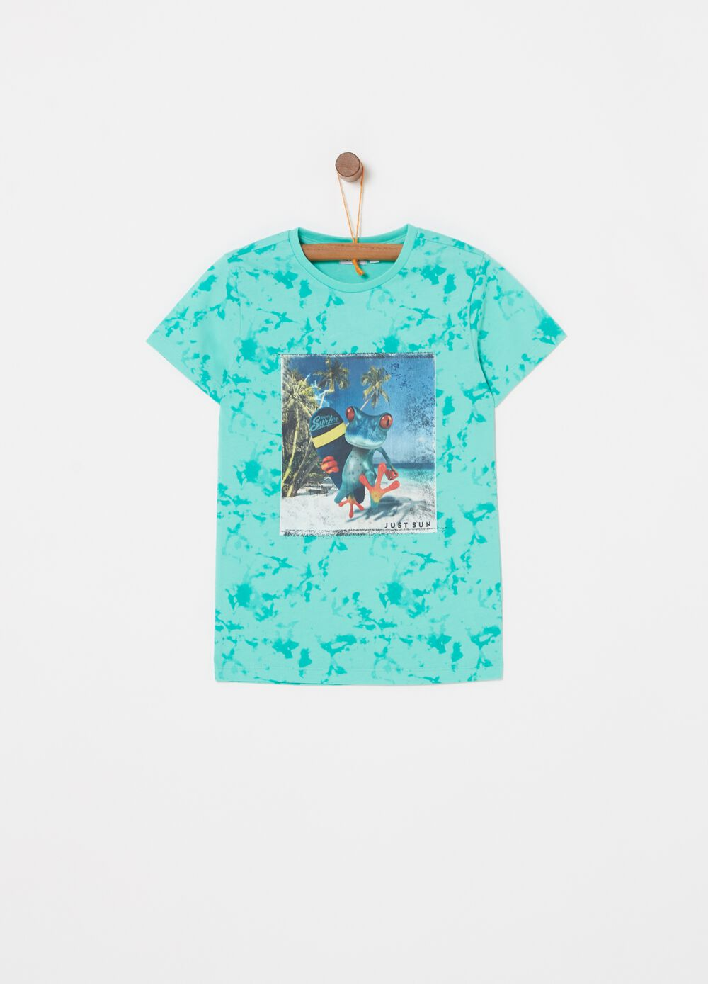 Misdyed-effect T-shirt with surf print