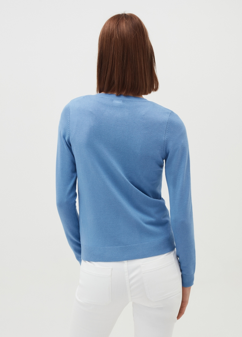 Viscose blend cardigan with round neck image number null