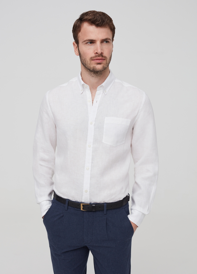 100% linen button-down shirt image number null