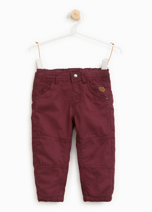 Pantaloni in puro cotone con patch