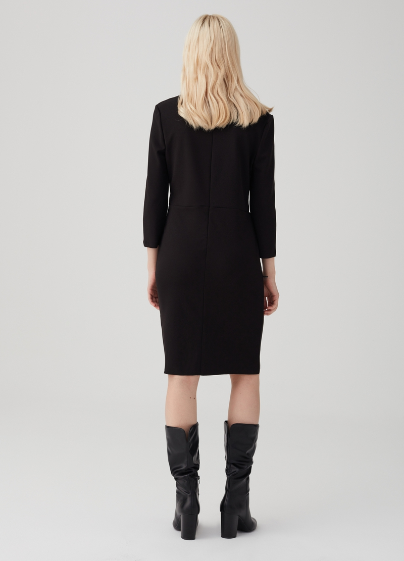 Stretch fabric dress with three-quarter sleeves image number null
