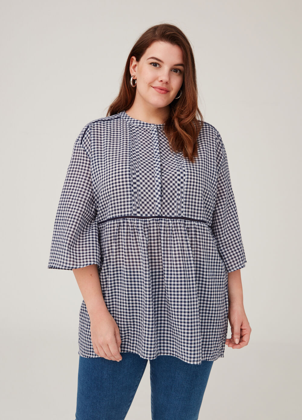 Curvy blouse with micro check pattern