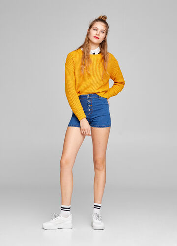High-waist supersoft denim shorts
