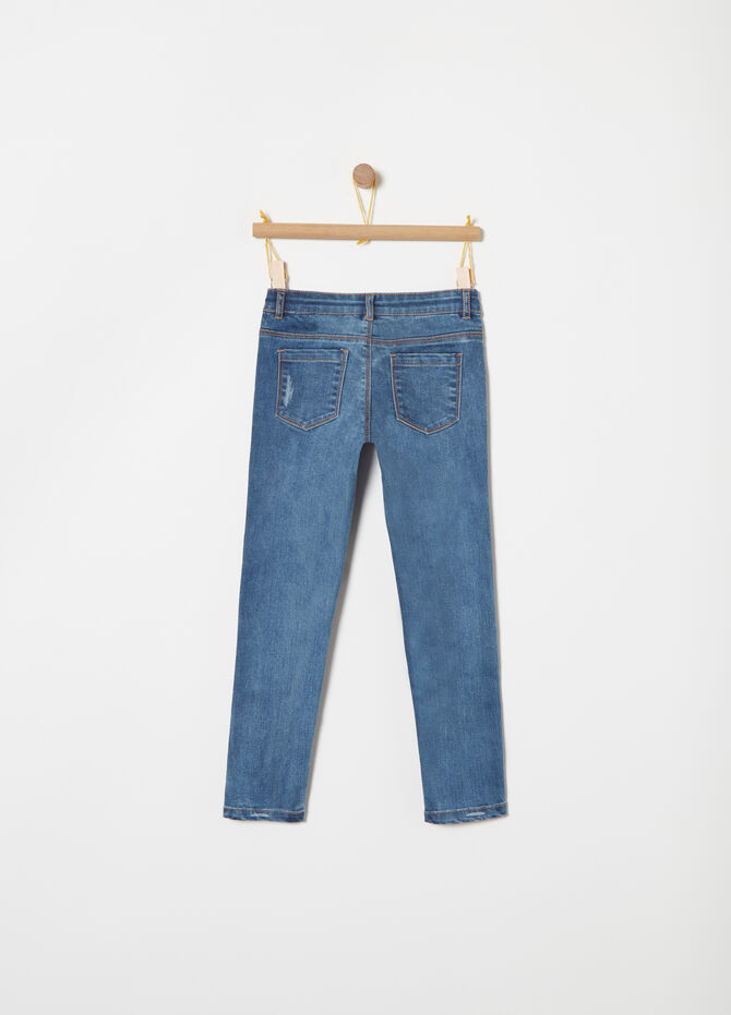 Jeans skinny fit inserti in ecopelliccia