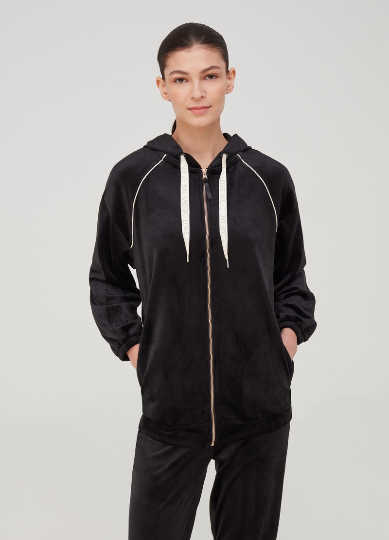 Chenille pyjama top with hood image number null