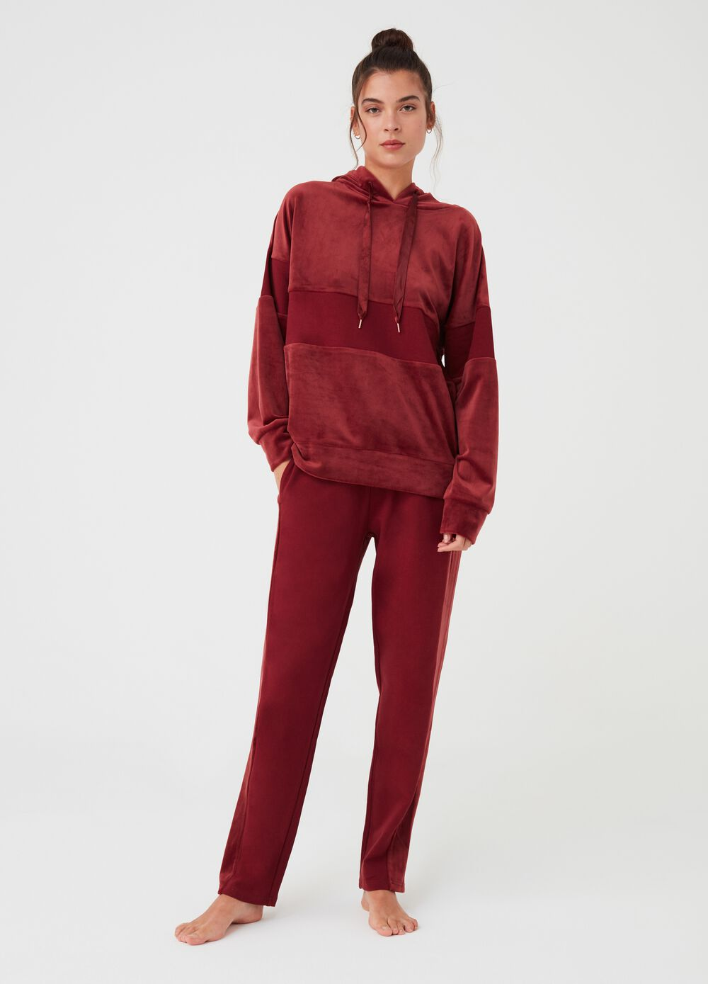 Chenille pyjama trousers with drawstring