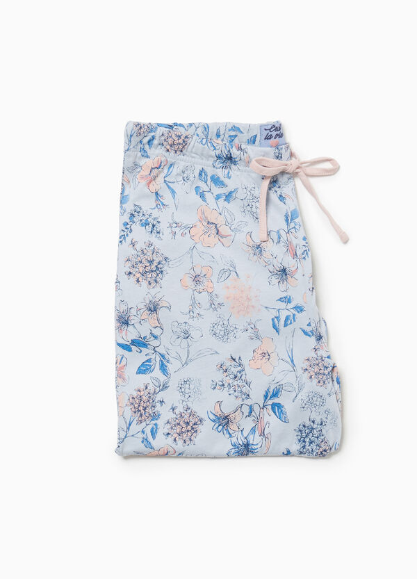 Pyjama trousers in floral cotton