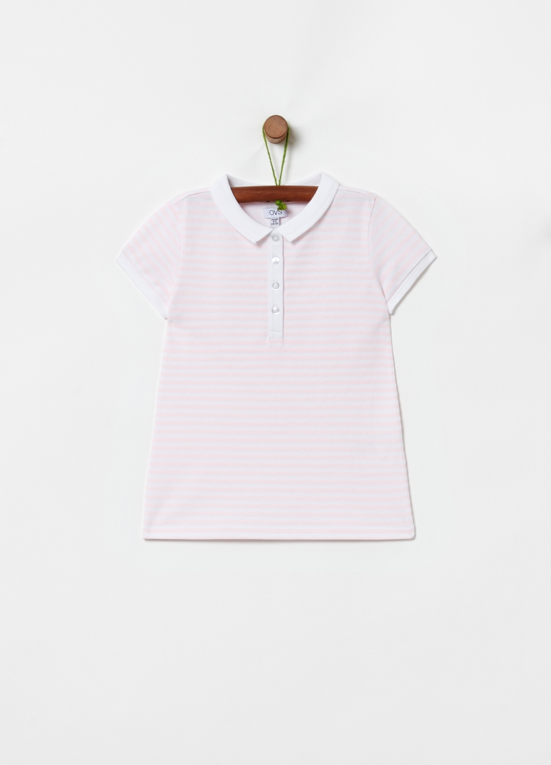 Striped stretch cotton polo shirt image number null