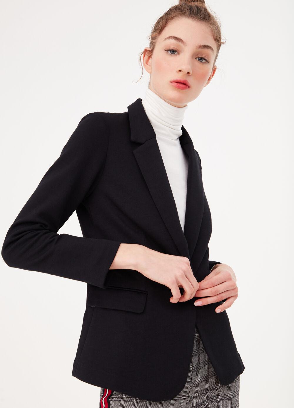 Single-breasted jacket in piquet fabric