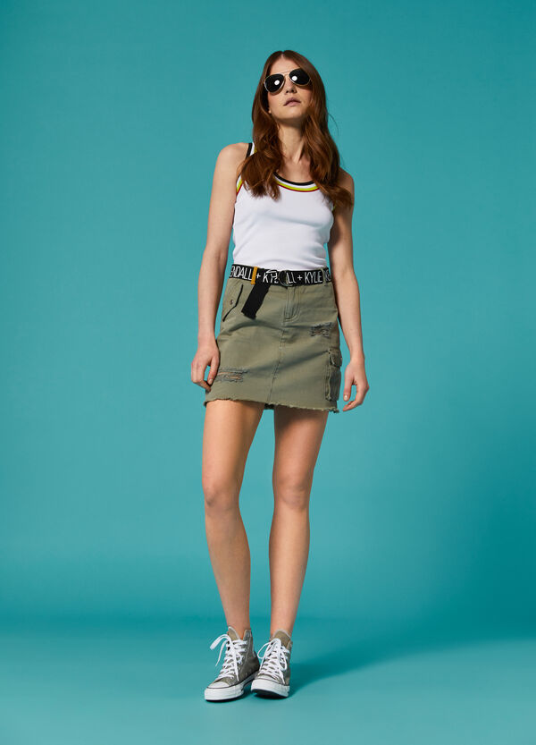 K+K for OVS denim skirt with rips