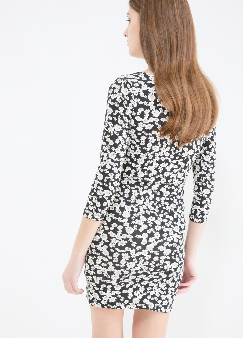 Short printed dress in stretch cotton image number null