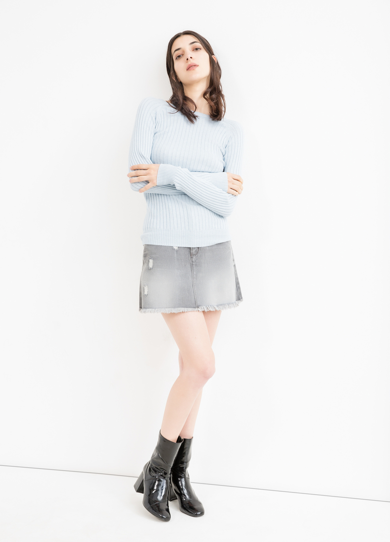 Denim skirt with eyelets image number null