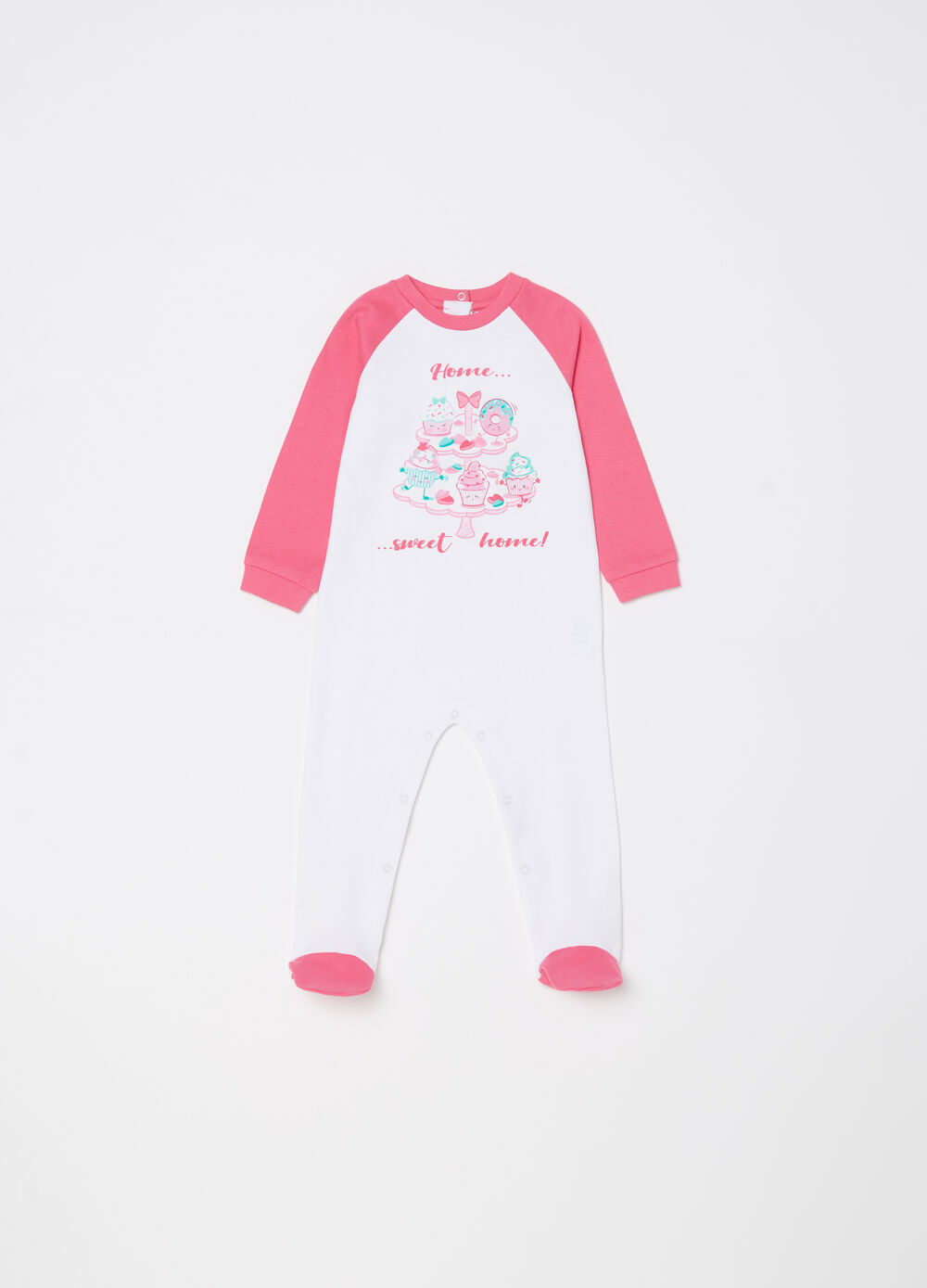 Two-tone onesie with feet and sweets print