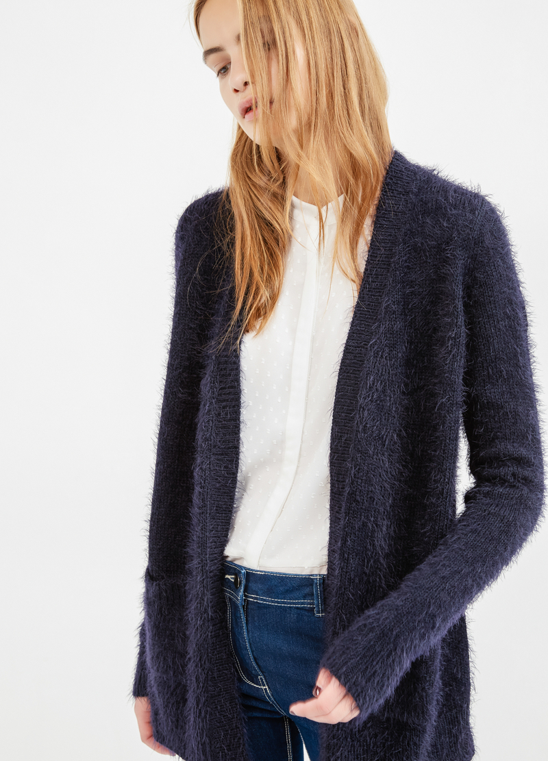 Cardigan with buttonless opening image number null