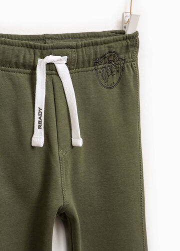 Cotton joggers with print and drawstring
