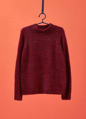 Solid colour knit pullover with high neck