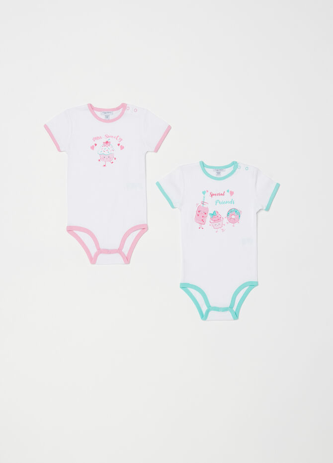 Set of two bodysuits with contrasting ribbing and print