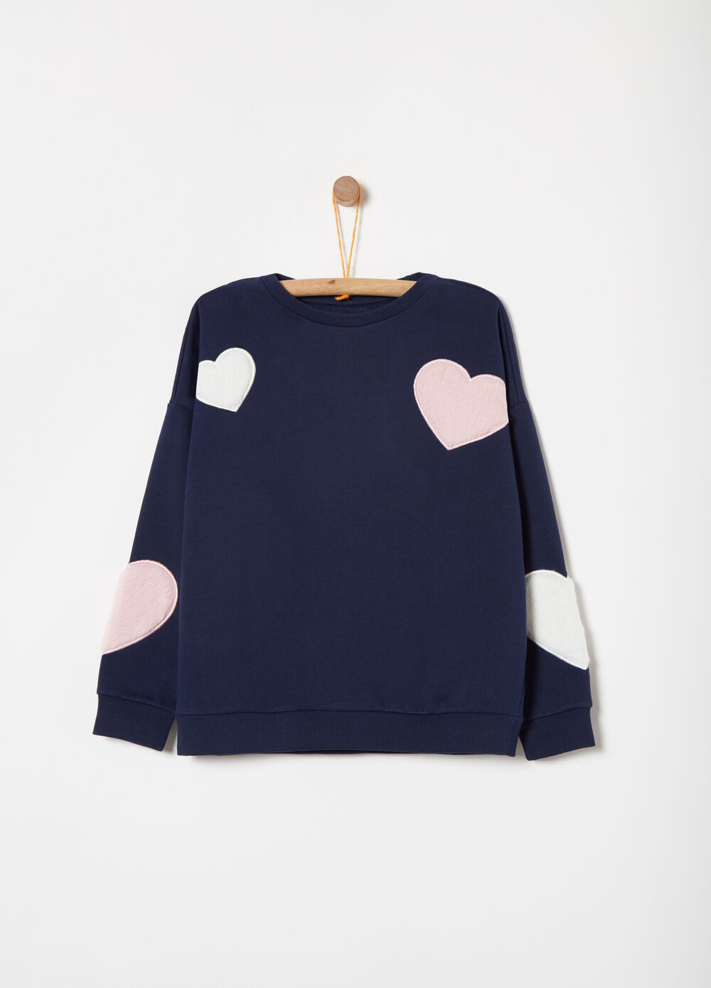 Cotton blend sweatshirt with heart applications