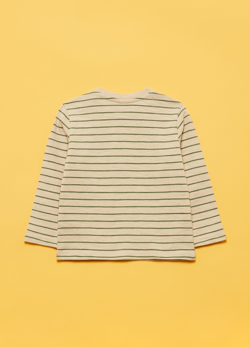 100% organic cotton T-shirt with striped pocket image number null