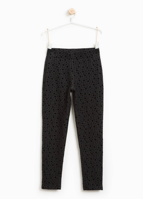 Jeggings misto cotone a pois