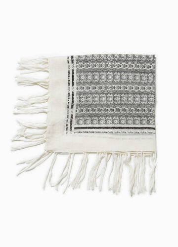 Cotton scarf with ethnic pattern