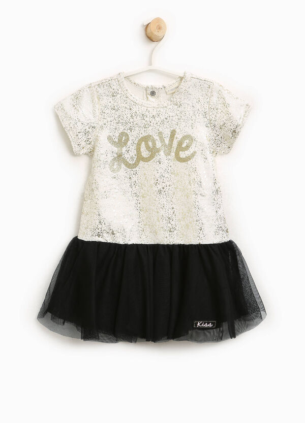 Dress in tulle with lettering print | OVS