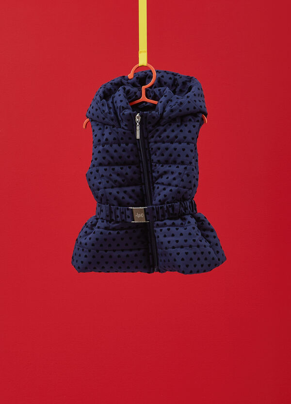 Gilet with belt with flocked heart print