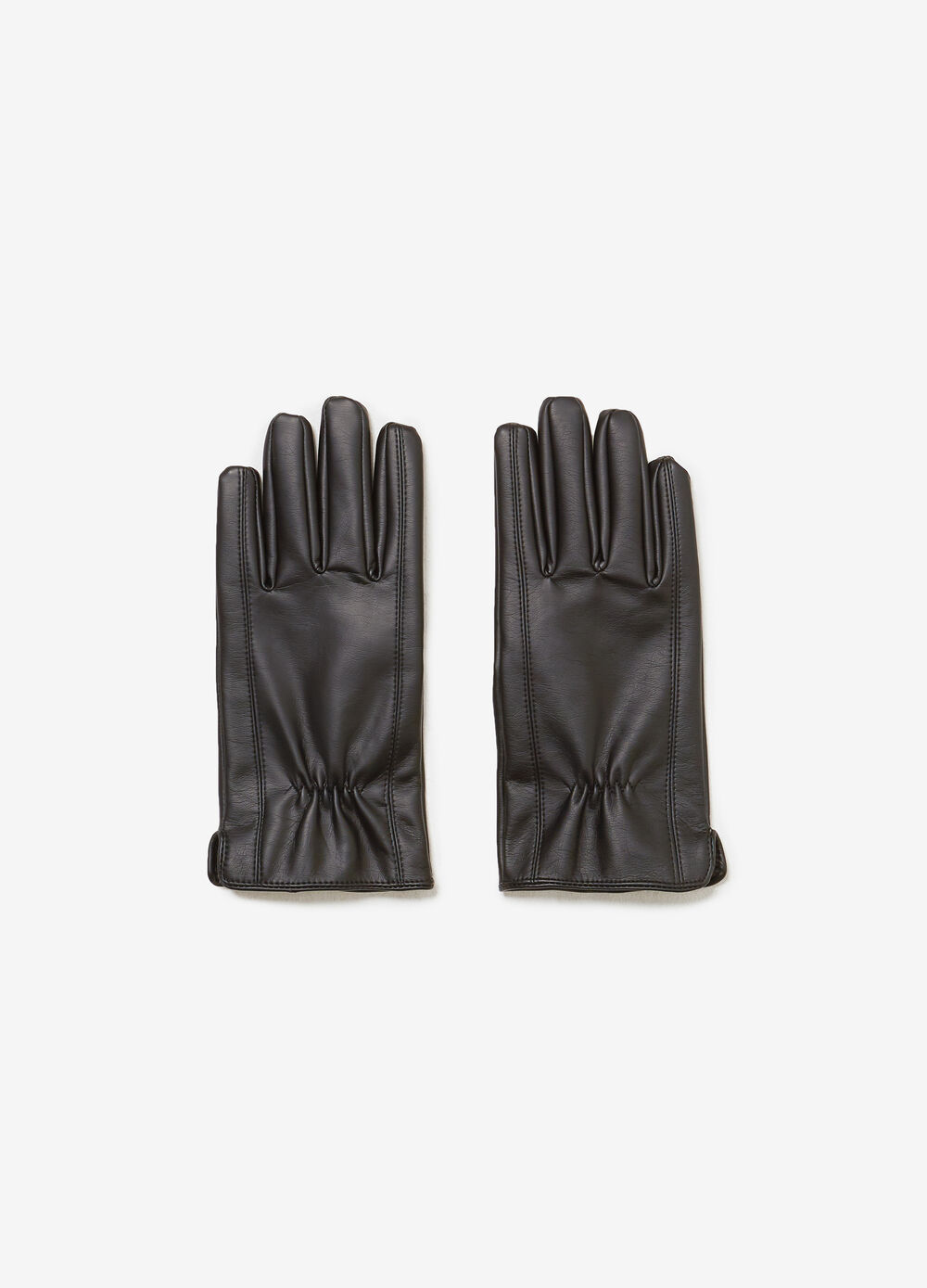 Faux leather gloves with stitching