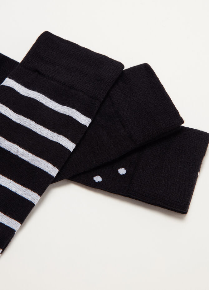 Three-pair pack warm short socks in cotton jacquard