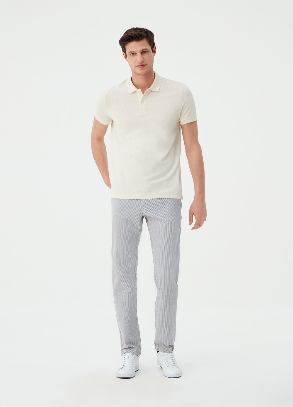 Regular-fit chino trousers with striped pattern