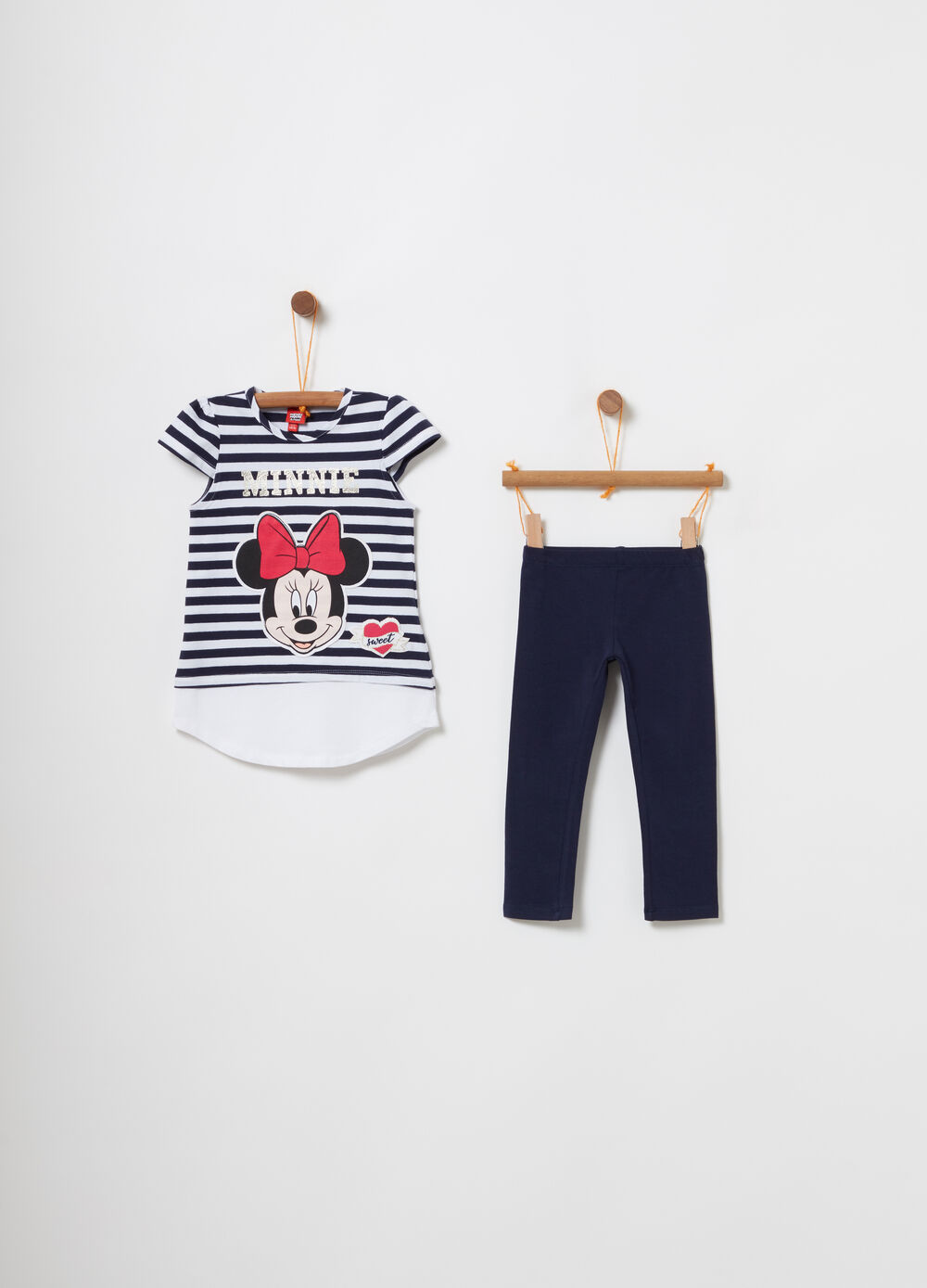 Minnie Mouse striped T-shirt and leggings jogging set