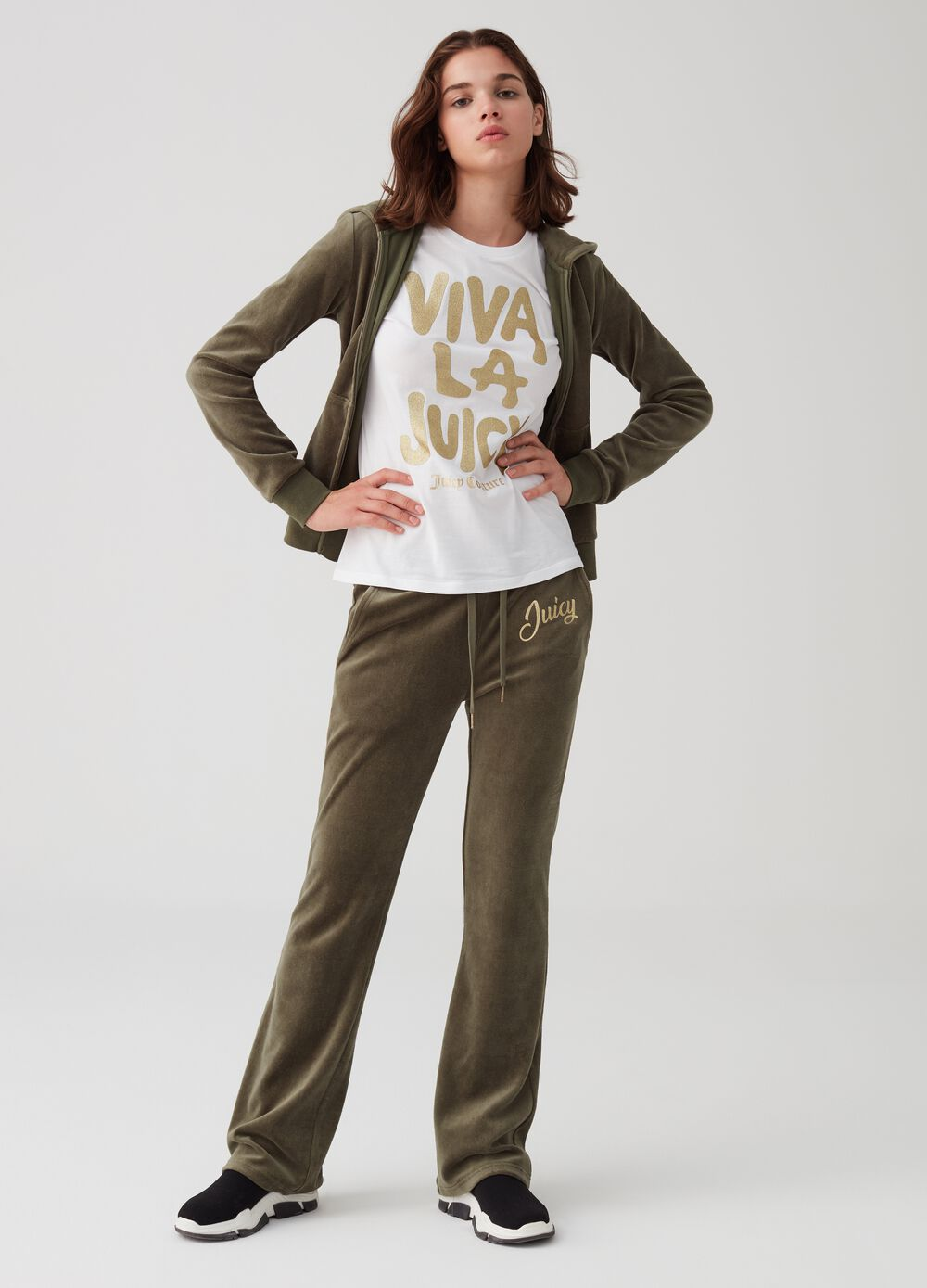 Soft trousers with glitter print