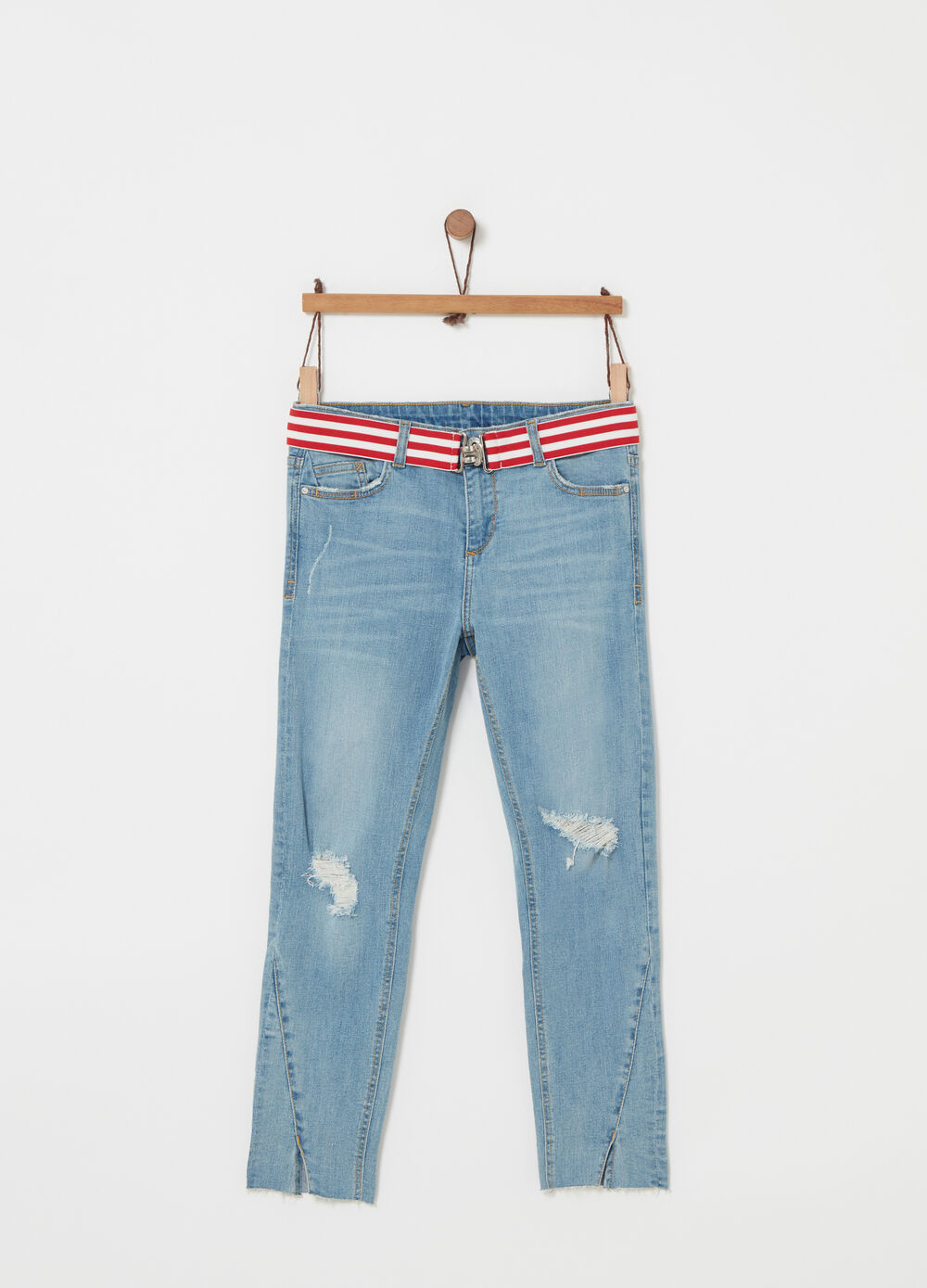 Skinny-fit jeans with striped belt