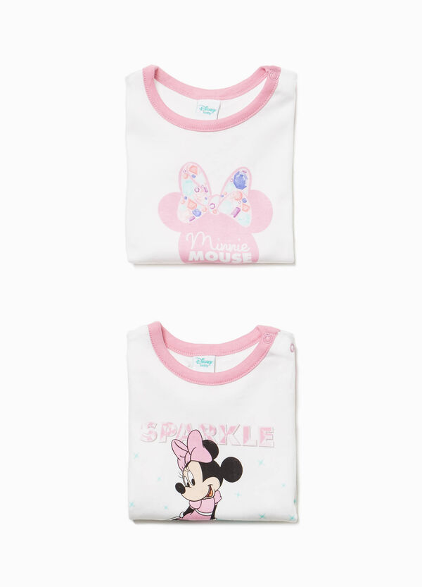 Two-pack cotton bodysuits with Minnie Mouse print