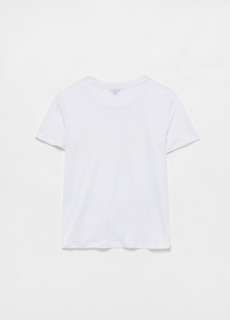 100% linen T-shirt with round neck image number null